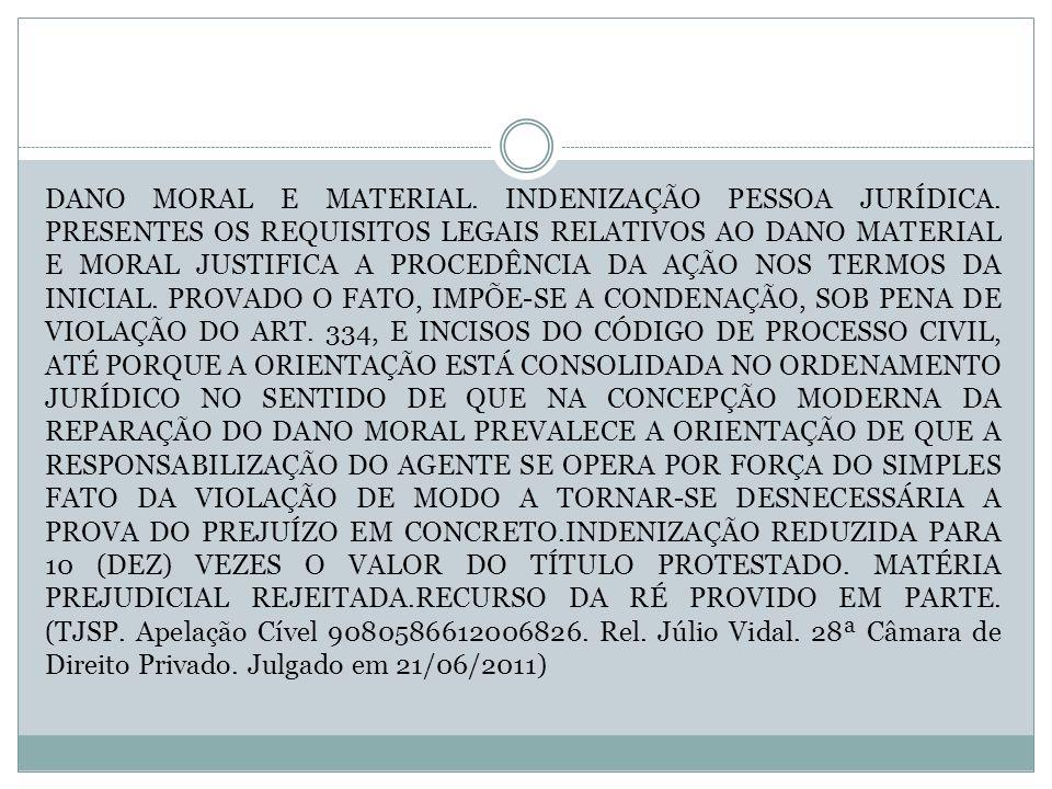 DANO MORAL E MATERIAL. INDENIZAÇÃO PESSOA JURÍDICA