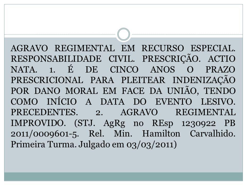 AGRAVO REGIMENTAL EM RECURSO ESPECIAL. RESPONSABILIDADE CIVIL