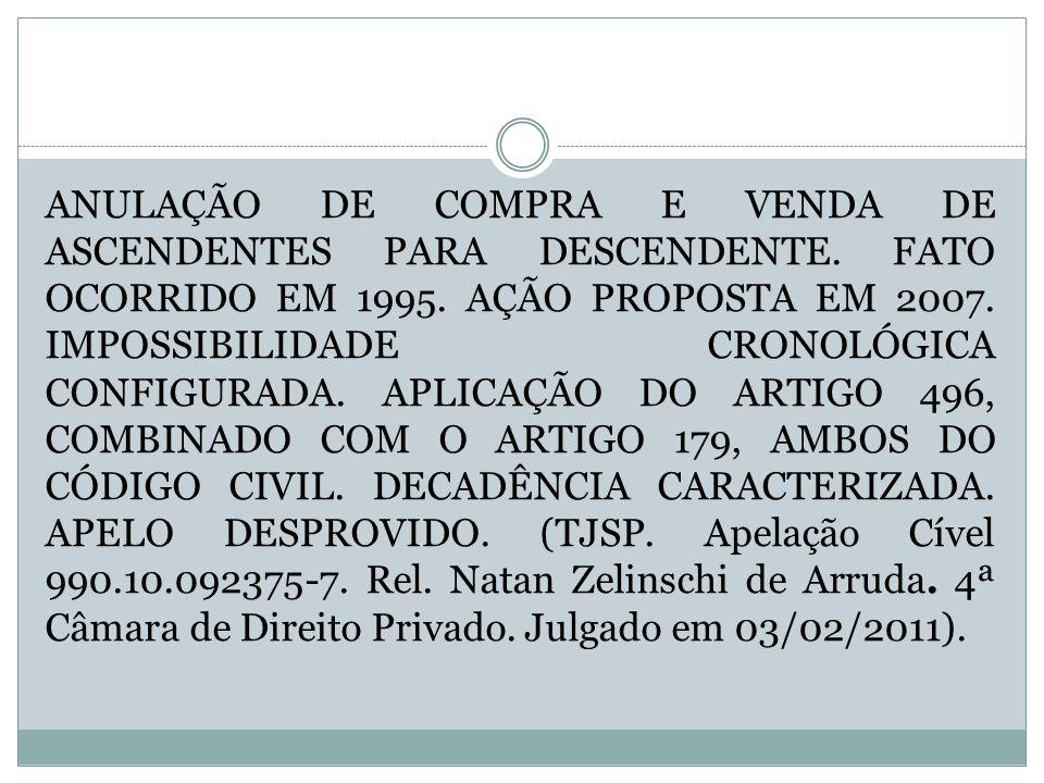 ANULAÇÃO DE COMPRA E VENDA DE ASCENDENTES PARA DESCENDENTE