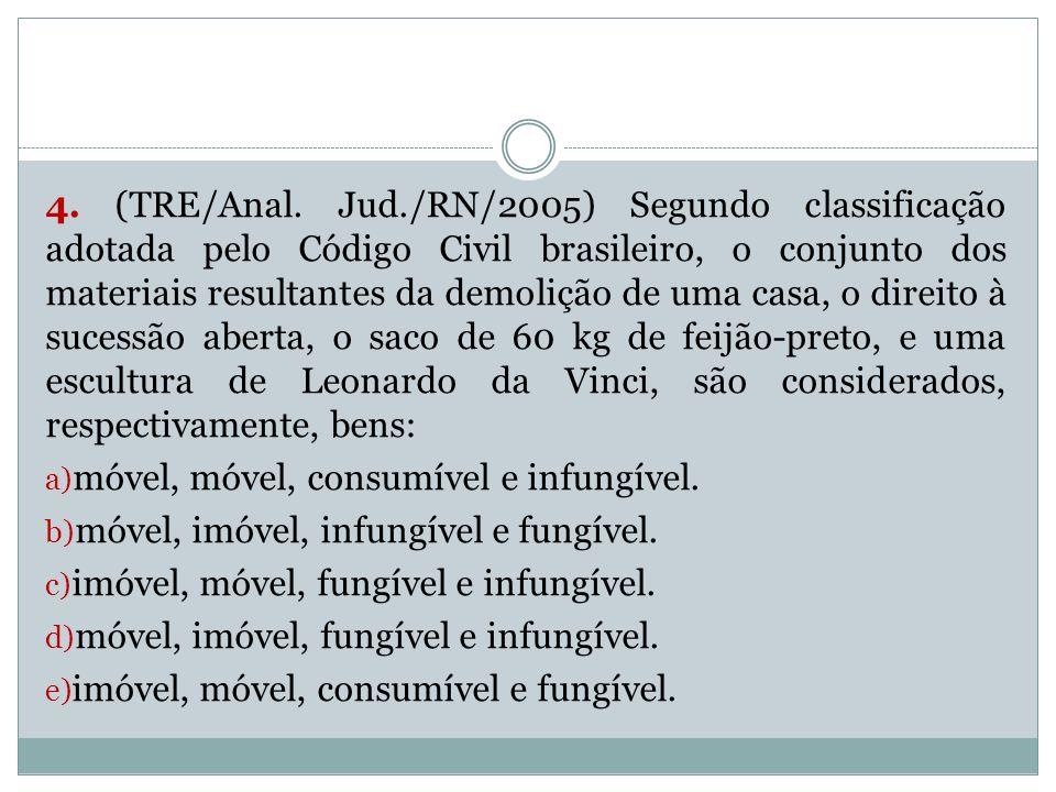 4. (TRE/Anal. Jud./RN/2005) Segundo classificação adotada pelo Código Civil brasileiro, o conjunto dos materiais resultantes da demolição de uma casa, o direito à sucessão aberta, o saco de 60 kg de feijão-preto, e uma escultura de Leonardo da Vinci, são considerados, respectivamente, bens: