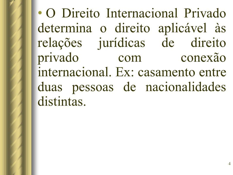 O Direito Internacional Privado determina o direito aplicável às relações jurídicas de direito privado com conexão internacional.
