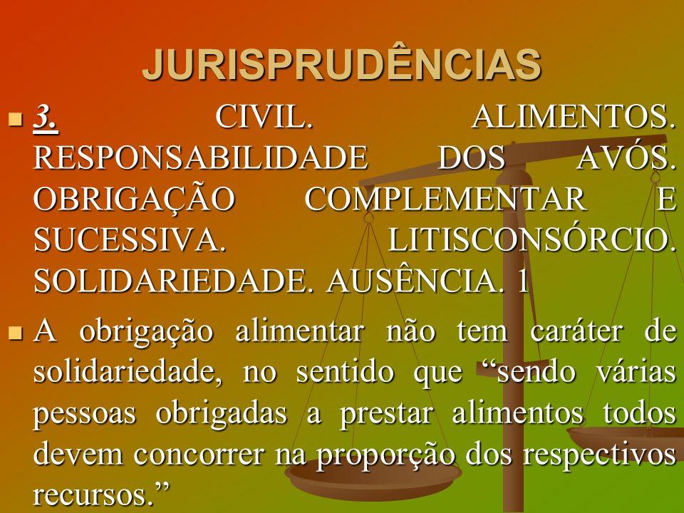 JURISPRUDÊNCIAS 3. CIVIL. ALIMENTOS. RESPONSABILIDADE DOS AVÓS. OBRIGAÇÃO COMPLEMENTAR E SUCESSIVA. LITISCONSÓRCIO. SOLIDARIEDADE. AUSÊNCIA. 1.