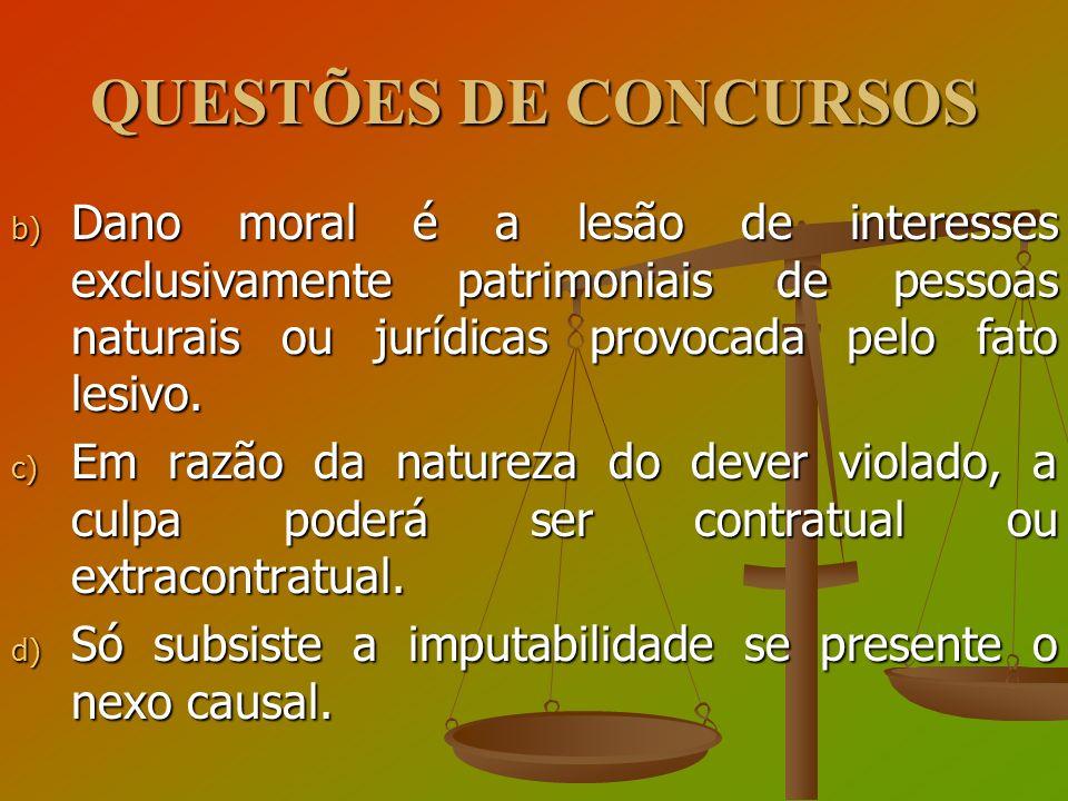 QUESTÕES DE CONCURSOS Dano moral é a lesão de interesses exclusivamente patrimoniais de pessoas naturais ou jurídicas provocada pelo fato lesivo.