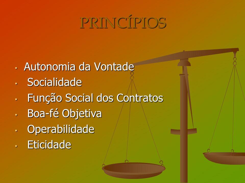 PRINCÍPIOS Autonomia da Vontade Socialidade