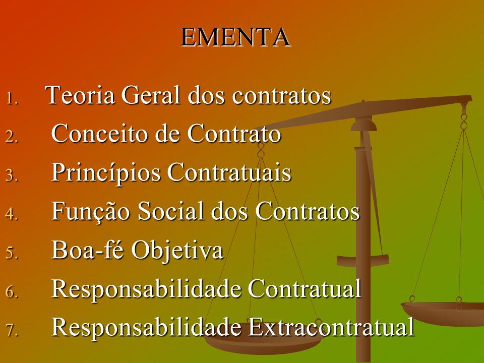 EMENTA Teoria Geral dos contratos. Conceito de Contrato. Princípios Contratuais. Função Social dos Contratos.