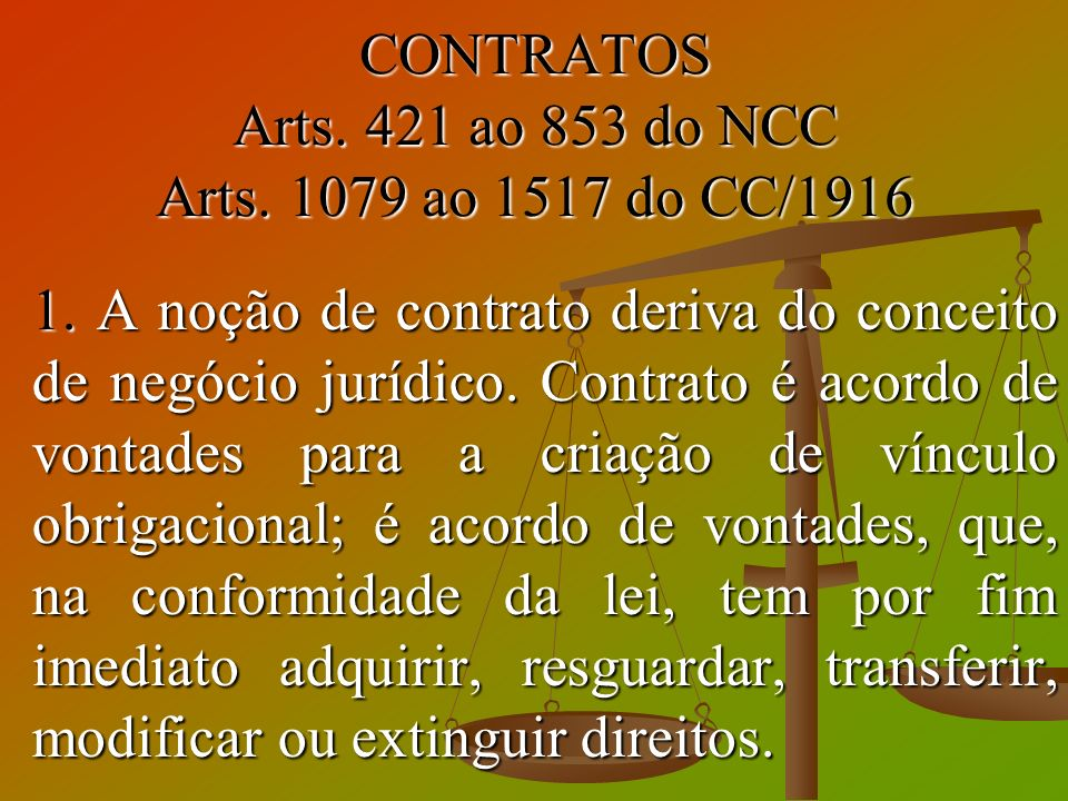 CONTRATOS Arts. 421 ao 853 do NCC Arts. 1079 ao 1517 do CC/1916