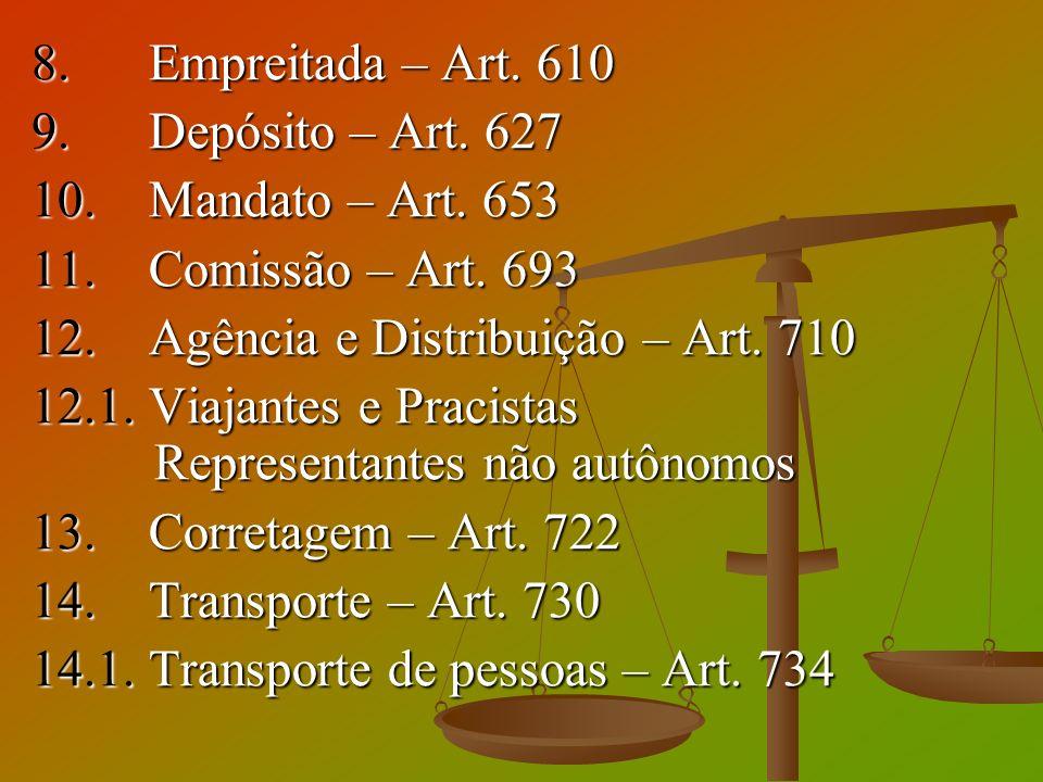 8. Empreitada – Art. 610 9. Depósito – Art. 627. 10. Mandato – Art. 653. 11. Comissão – Art. 693.