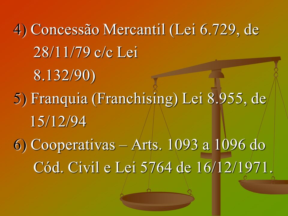 4) Concessão Mercantil (Lei 6.729, de