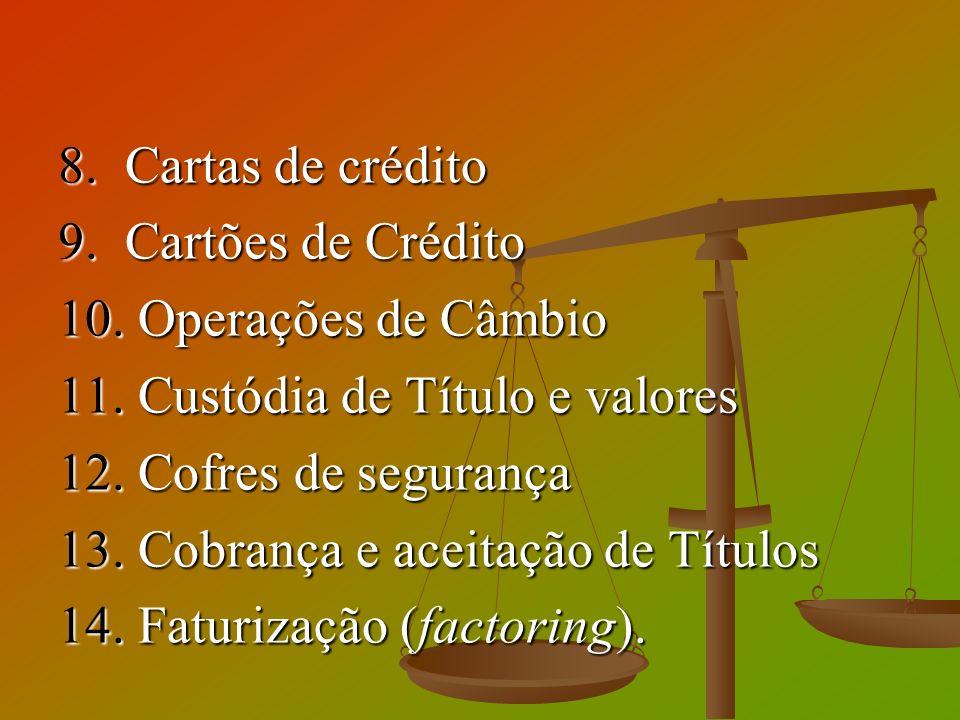 8. Cartas de crédito 9. Cartões de Crédito. 10. Operações de Câmbio. 11. Custódia de Título e valores.