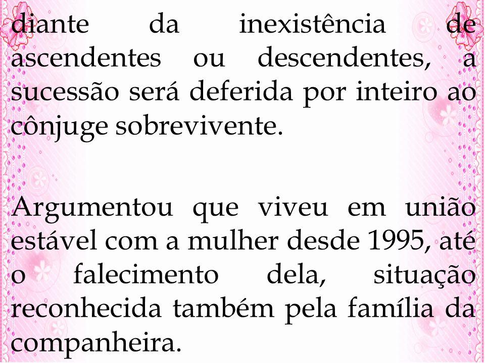 diante da inexistência de ascendentes ou descendentes, a sucessão será deferida por inteiro ao cônjuge sobrevivente.
