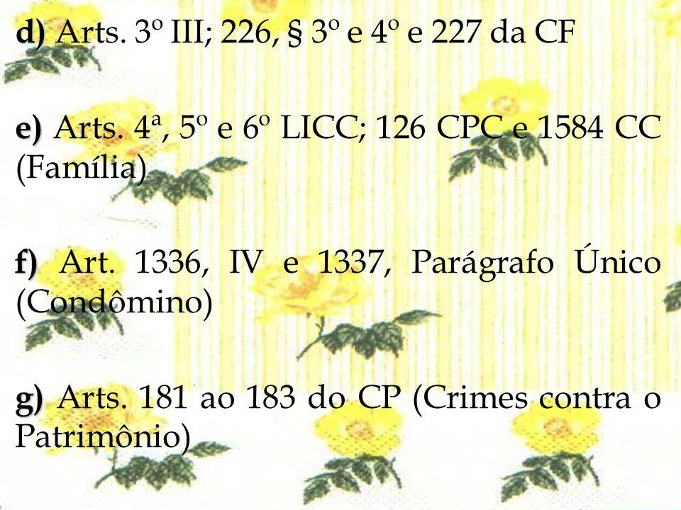 d) Arts. 3º III; 226, § 3º e 4º e 227 da CF