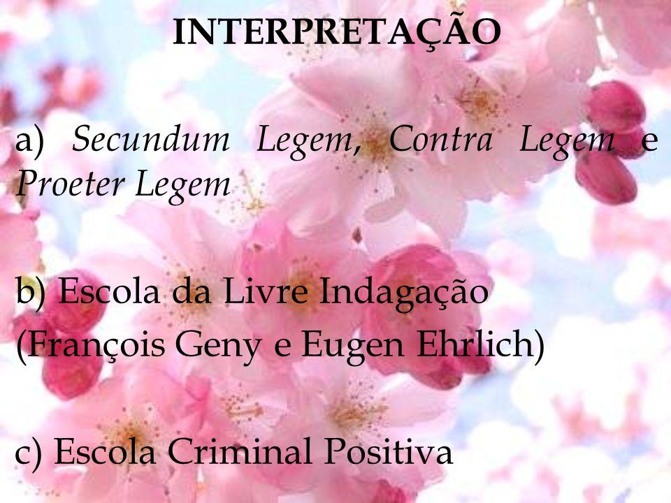 INTERPRETAÇÃO a) Secundum Legem, Contra Legem e Proeter Legem. b) Escola da Livre Indagação. (François Geny e Eugen Ehrlich)