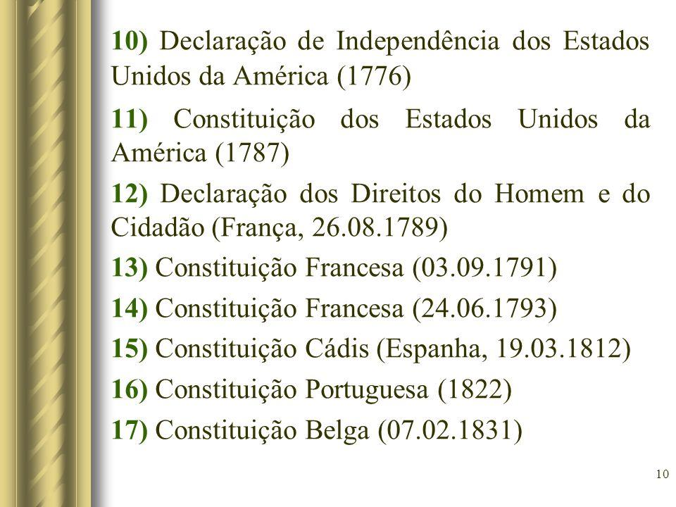 10) Declaração de Independência dos Estados Unidos da América (1776)