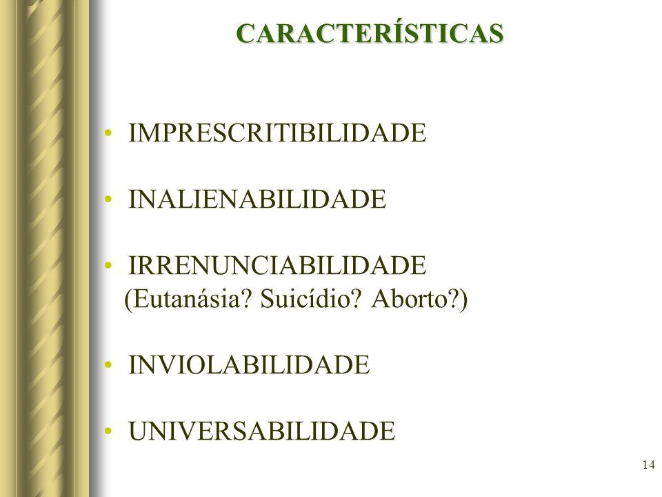 CARACTERÍSTICAS IMPRESCRITIBILIDADE. INALIENABILIDADE. IRRENUNCIABILIDADE. (Eutanásia Suicídio Aborto )