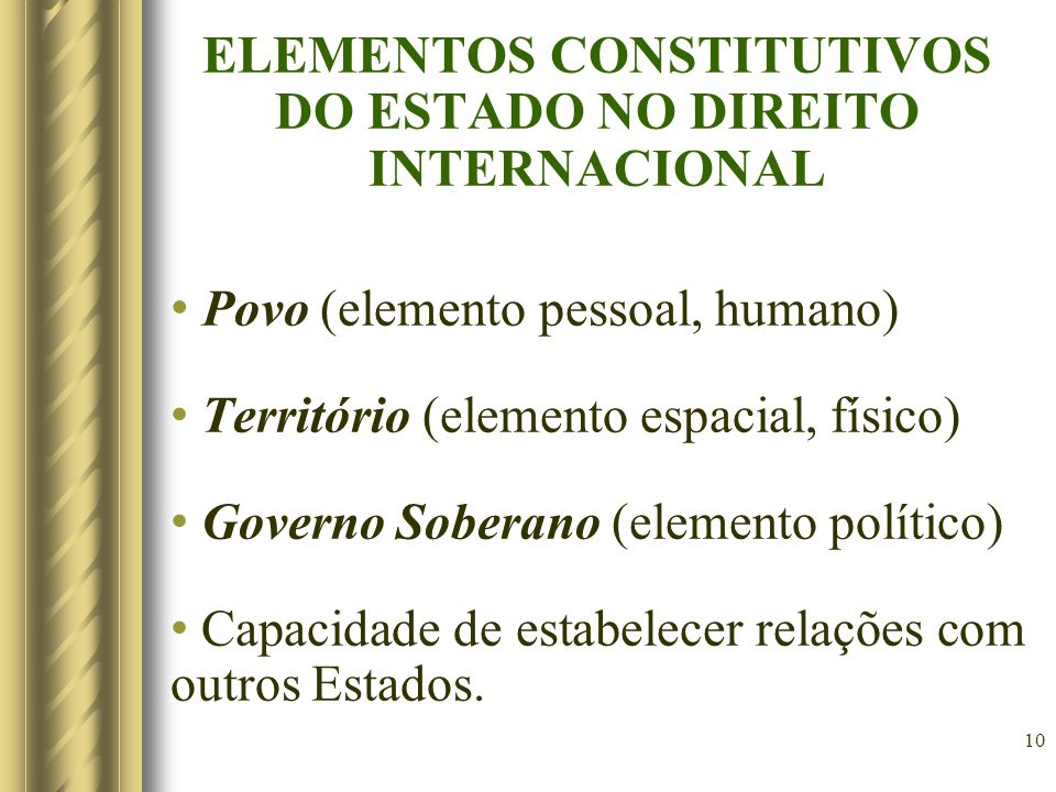 ELEMENTOS CONSTITUTIVOS DO ESTADO NO DIREITO INTERNACIONAL