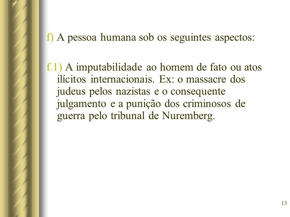 f) A pessoa humana sob os seguintes aspectos: