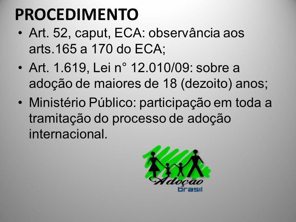 PROCEDIMENTO Art. 52, caput, ECA: observância aos arts.165 a 170 do ECA;