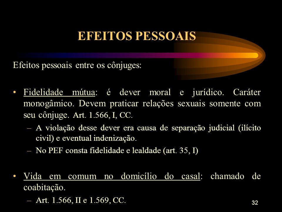 EFEITOS PESSOAIS Efeitos pessoais entre os cônjuges: