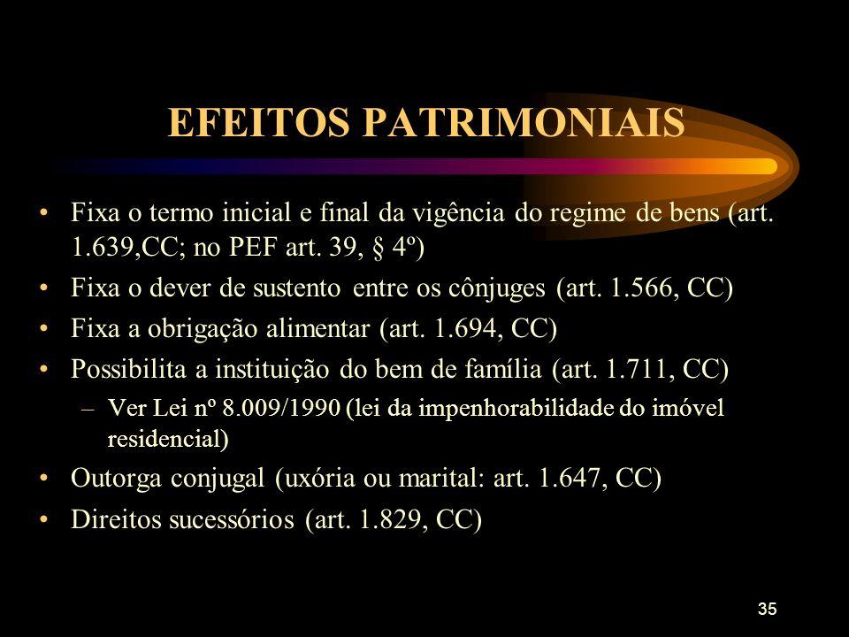 EFEITOS PATRIMONIAIS Fixa o termo inicial e final da vigência do regime de bens (art. 1.639,CC; no PEF art. 39, § 4º)