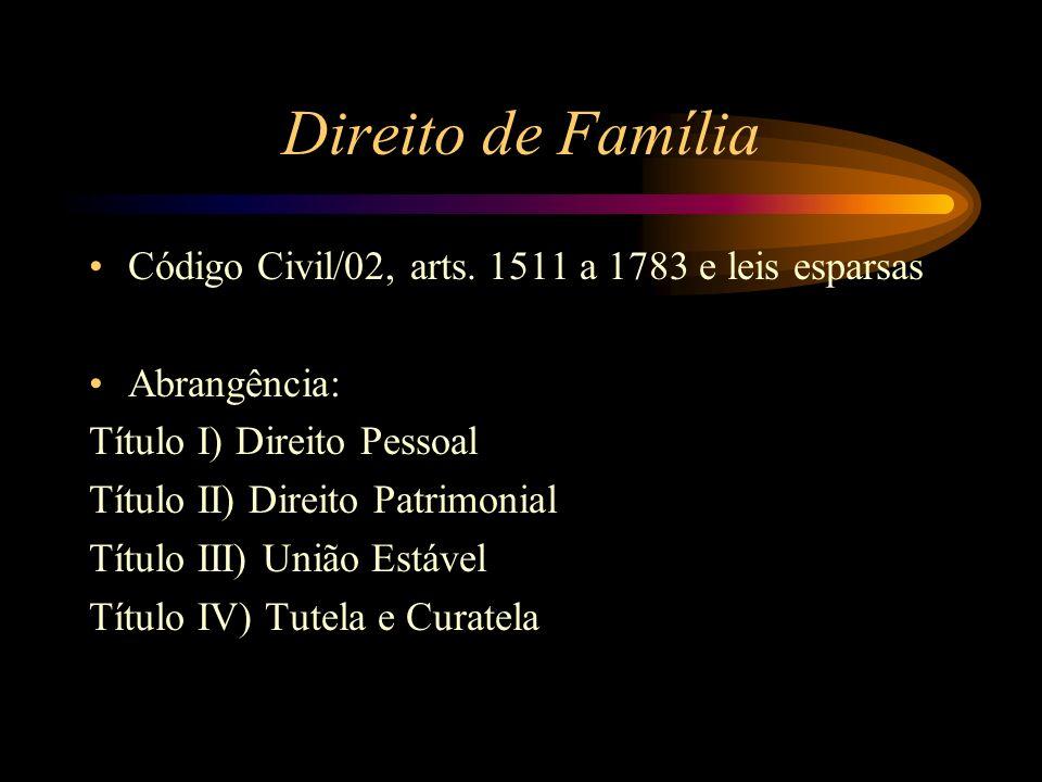 Direito de Família Código Civil/02, arts. 1511 a 1783 e leis esparsas