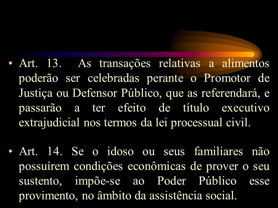 Art. 13. As transações relativas a alimentos poderão ser celebradas perante o Promotor de Justiça ou Defensor Público, que as referendará, e passarão a ter efeito de título executivo extrajudicial nos termos da lei processual civil.
