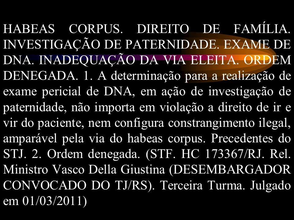 HABEAS CORPUS. DIREITO DE FAMÍLIA. INVESTIGAÇÃO DE PATERNIDADE