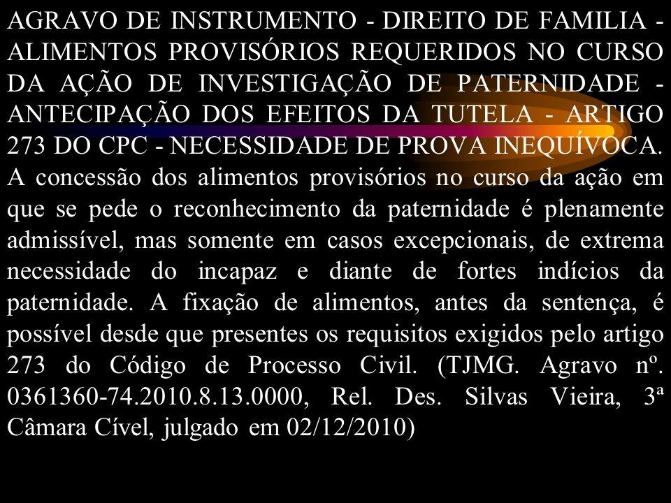 AGRAVO DE INSTRUMENTO - DIREITO DE FAMILIA - ALIMENTOS PROVISÓRIOS REQUERIDOS NO CURSO DA AÇÃO DE INVESTIGAÇÃO DE PATERNIDADE - ANTECIPAÇÃO DOS EFEITOS DA TUTELA - ARTIGO 273 DO CPC - NECESSIDADE DE PROVA INEQUÍVOCA.