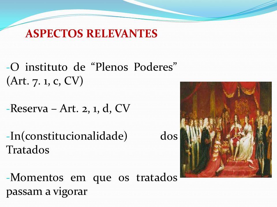 ASPECTOS RELEVANTESO instituto de Plenos Poderes (Art. 7. 1, c, CV) Reserva – Art. 2, 1, d, CV. In(constitucionalidade) dos Tratados.