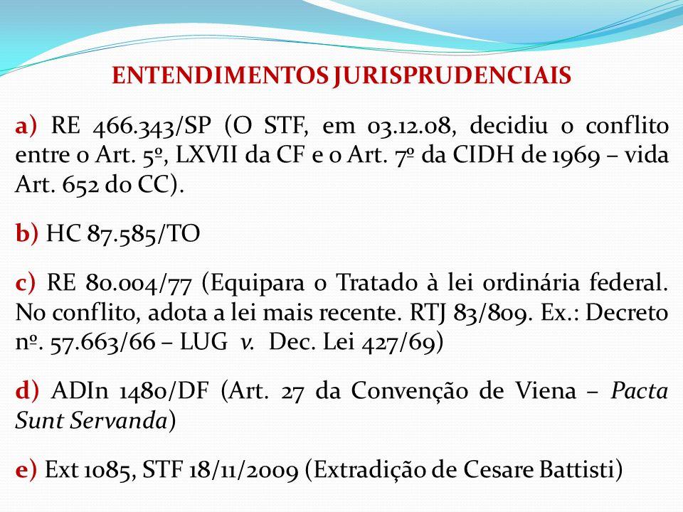 ENTENDIMENTOS JURISPRUDENCIAIS a) RE 466. 343/SP (O STF, em 03. 12