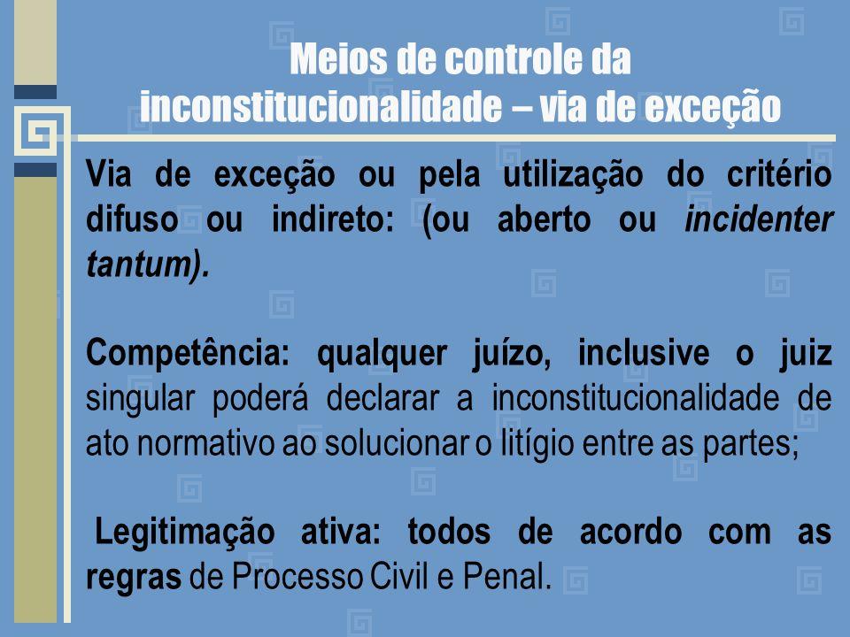 Meios de controle da inconstitucionalidade – via de exceção