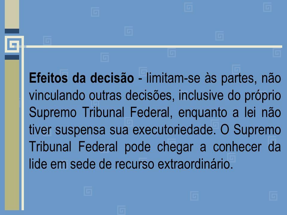 Efeitos da decisão - limitam-se às partes, não vinculando outras decisões, inclusive do próprio Supremo Tribunal Federal, enquanto a lei não tiver suspensa sua executoriedade.
