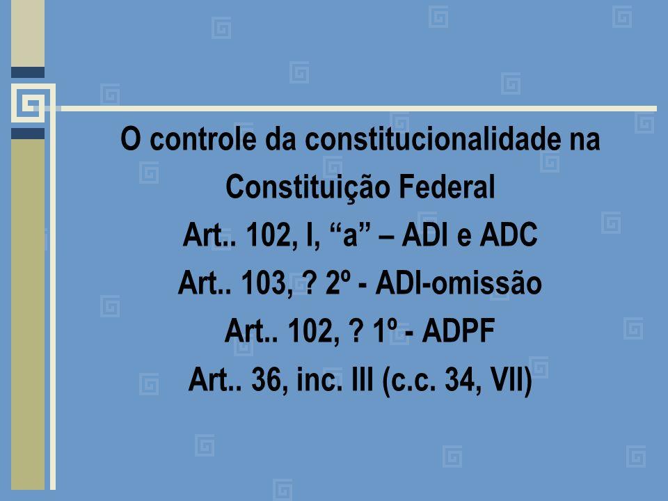 O controle da constitucionalidade na Constituição Federal Art