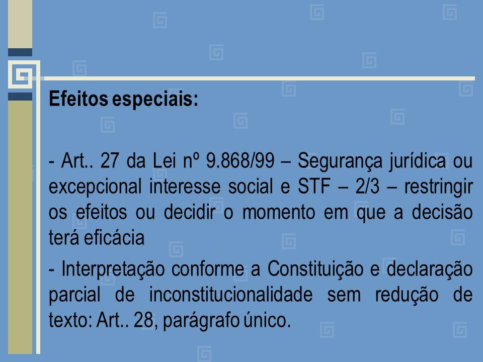 Efeitos especiais: - Art. 27 da Lei nº 9