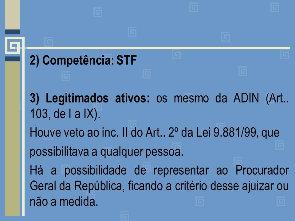 2) Competência: STF 3) Legitimados ativos: os mesmo da ADIN (Art