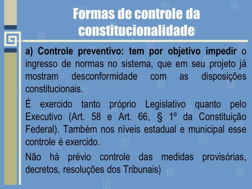Formas de controle da constitucionalidade