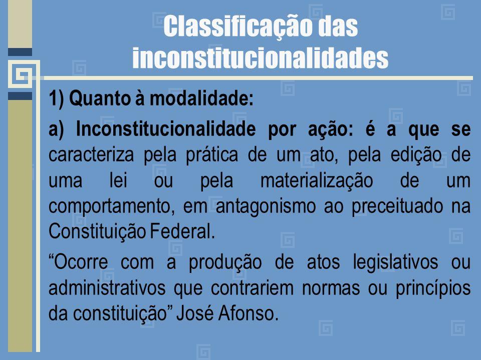 Classificação das inconstitucionalidades