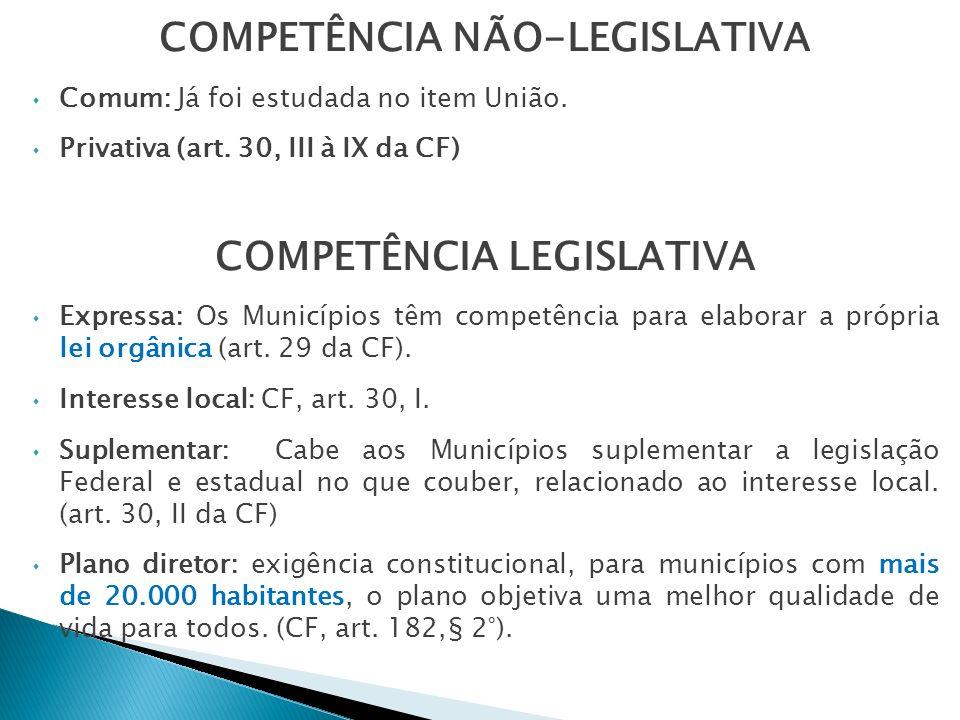 COMPETÊNCIA NÃO-LEGISLATIVA