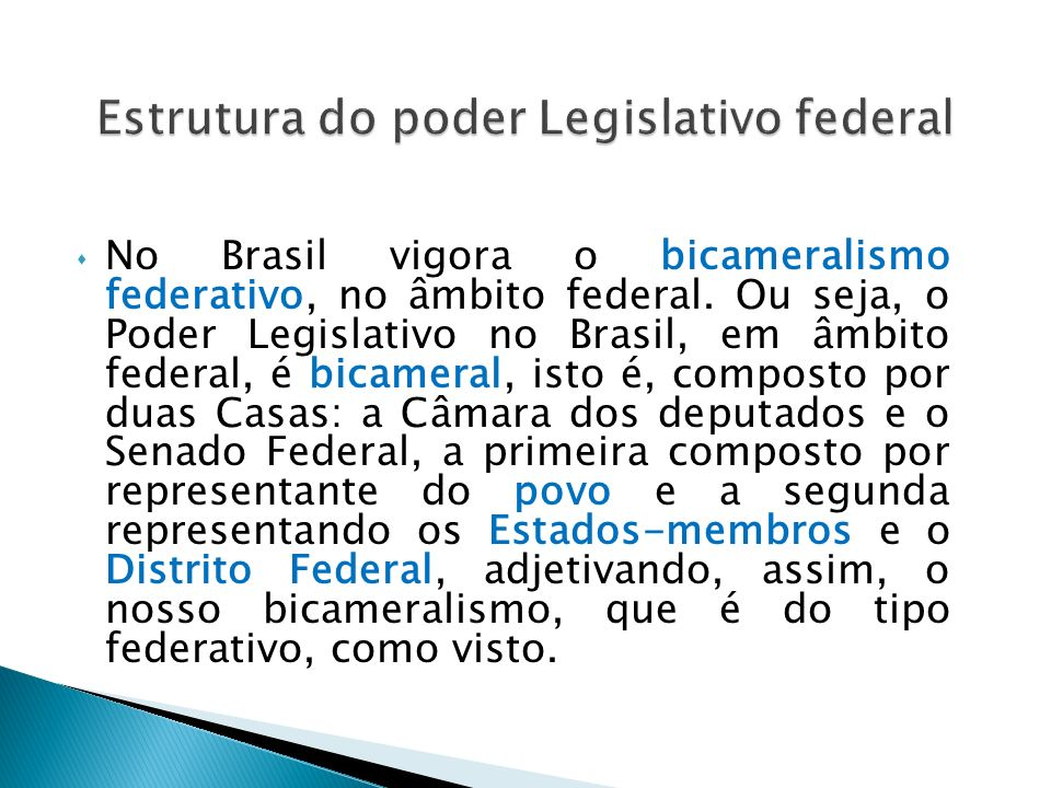 Estrutura do poder Legislativo federal