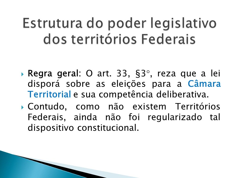 Estrutura do poder legislativo dos territórios Federais