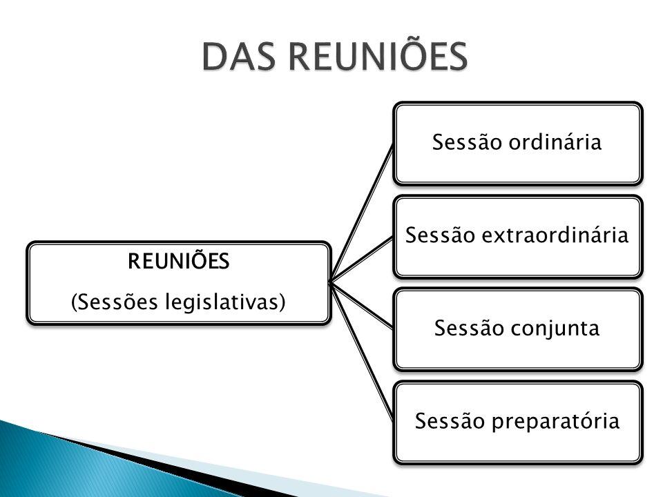 DAS REUNIÕES (Sessões legislativas) Reuniões Sessão ordinária