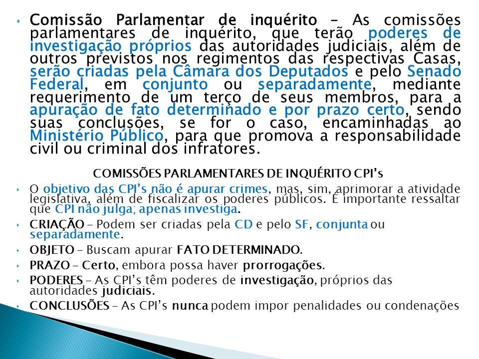 COMISSÕES PARLAMENTARES DE INQUÉRITO CPI's