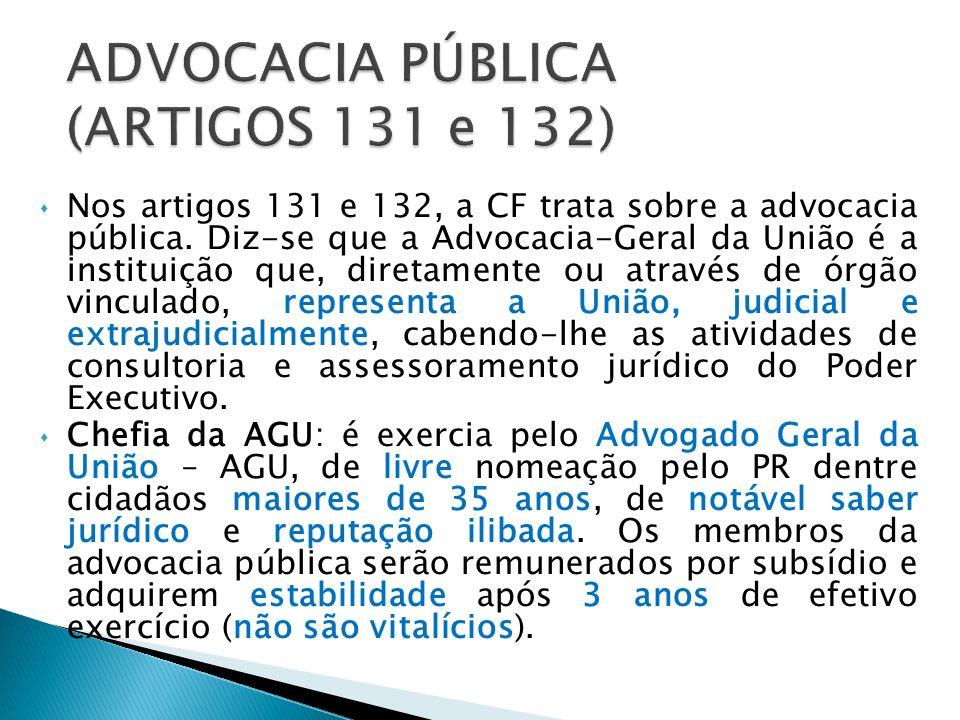 ADVOCACIA PÚBLICA (ARTIGOS 131 e 132)