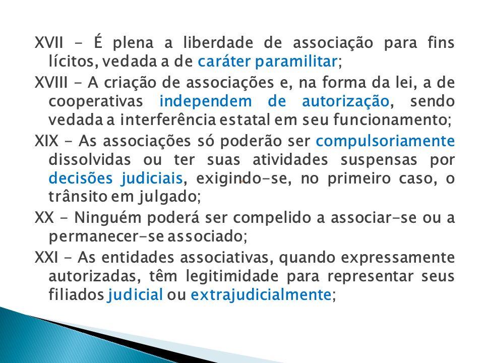 XVII - É plena a liberdade de associação para fins lícitos, vedada a de caráter paramilitar;
