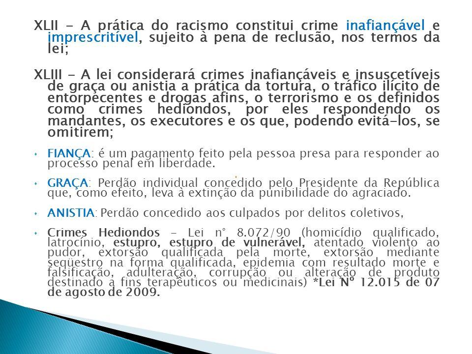 XLII - A prática do racismo constitui crime inafiançável e imprescritível, sujeito à pena de reclusão, nos termos da lei;