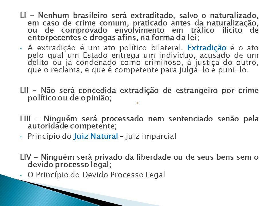 LI - Nenhum brasileiro será extraditado, salvo o naturalizado, em caso de crime comum, praticado antes da naturalização, ou de comprovado envolvimento em tráfico ilícito de entorpecentes e drogas afins, na forma da lei;