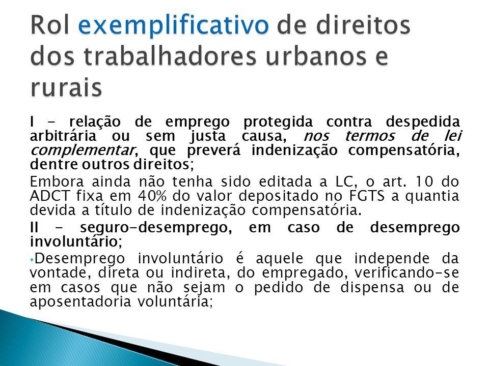 Rol exemplificativo de direitos dos trabalhadores urbanos e rurais