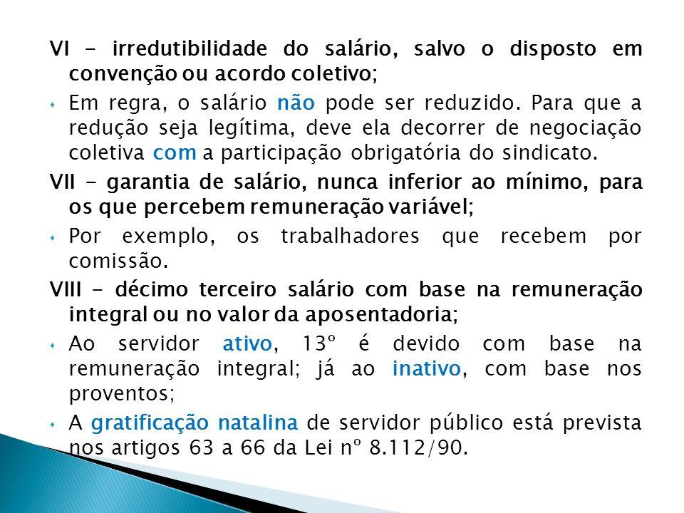 VI - irredutibilidade do salário, salvo o disposto em convenção ou acordo coletivo;