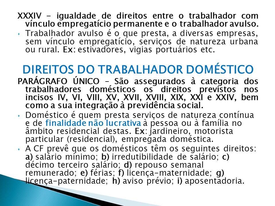 DIREITOS DO TRABALHADOR DOMÉSTICO