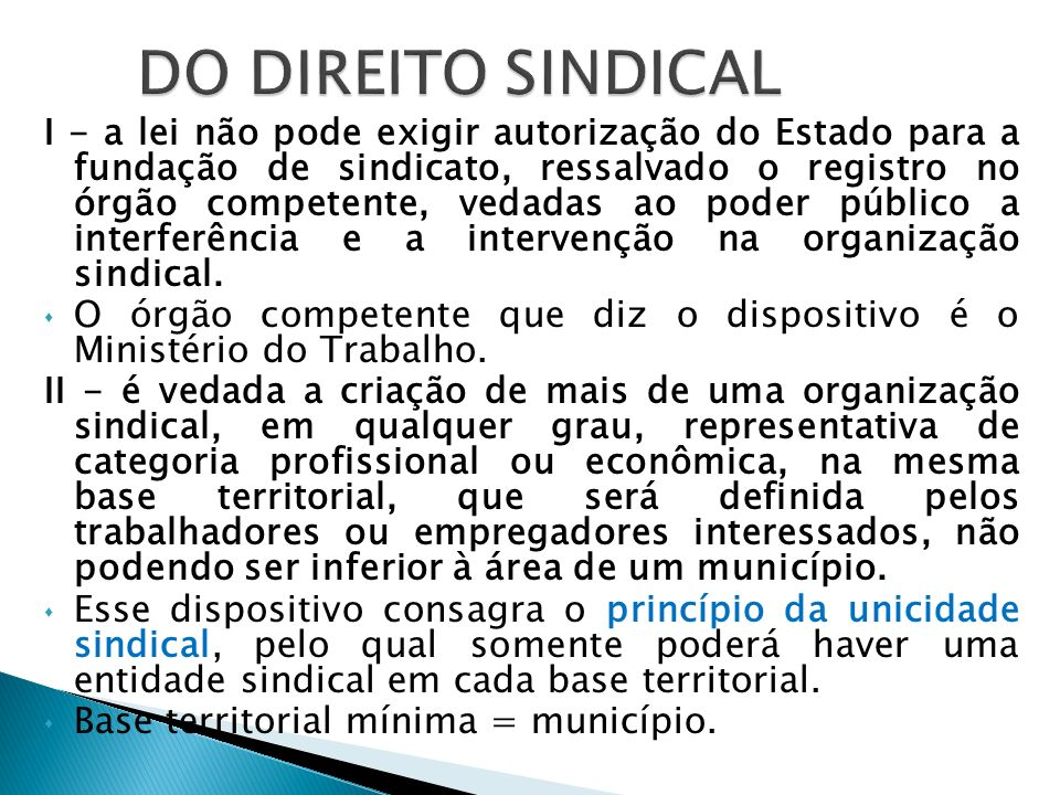 DO DIREITO SINDICAL