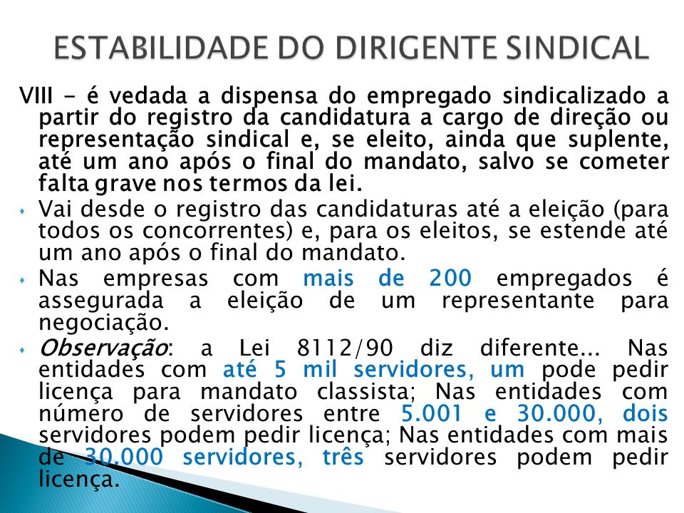 ESTABILIDADE DO DIRIGENTE SINDICAL